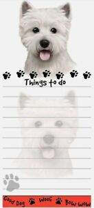 Lot Of 2 westie Dog Magnetic List Pads Uniquely Shaped Sticky Notepad