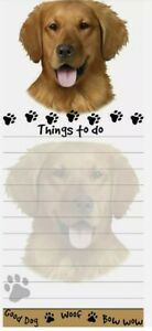 Lot Of 2 golden Retriever Magnetic List Pads Uniquely Shaped Sticky Notepad