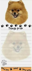 Lot Of 2 pomeranian Magnetic List Pads Uniquely Shaped Sticky Notepad