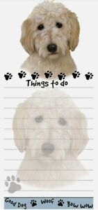 Lot Of 2 goldendoodle Magnetic List Pads Uniquely Shaped Sticky Notepad