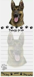 Lot Of 2 german Shepherd Magnetic List Pads Uniquely Shaped Sticky Notepad