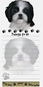 Lot Of 2 shih Tzu Black Magnetic List Pads Uniquely Shaped Sticky Notepad