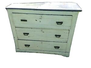Antique Oak Marble Top 3 Drawer Dresser 1800 S Original Brass Super Project