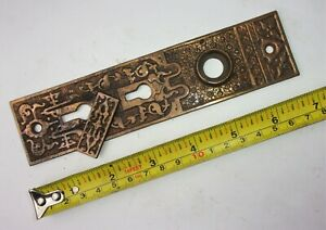 One Antique Victorian Eastlake Ornate Double Key Door Plate Backplate