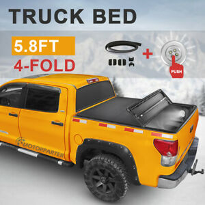 5 8ft Tonneau Cover 4 fold Truck Bed For 04 07 Chevy Silverado Gmc Sierra led