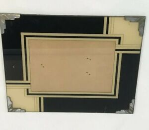 Vintage Art Deco Reverse Painting Picture Frame Glass Black Cream Silver Corners