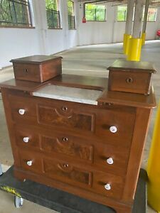 Antique Victorian Marble Insert Top Dresser Chest Round Dovetail Local Atlanta