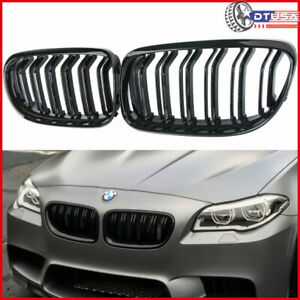 M5 Look Gloss Black Dual Fins Front Kidney Grill Grille For Bmw 5 F10 09 16