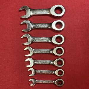 Snap On Sae Short 12 Point Ratcheting Combination Wrench 7 Pc Set