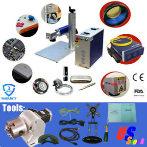 Us Stock 30w Split Fiber Laser Marking Engraving Diy Machine With Rotary Axis
