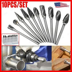 10 Tungsten Carbide Burr Bit Cutting Carving Routing Bur For Dremel Rotary Tools