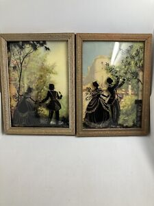 2 Reverse Painted Couple On Bubble Convex Glass Pictures 5 3 4 X 7 3 4