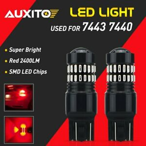 Auxito 7443 Red Led Brake Turn Signal Tail Parking Light Bulbs 48smd 7440 7444