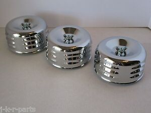 Chrome 4 5 8 Louvered Air Cleaners 3 Tri Power 1 2 Bbl Hot Rod 2339 3