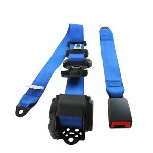 1kit Blue 3 Point Harness Fixed Retractable Safety Belt Seat Belt Clip Lap Strap
