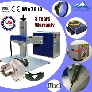 Us 30w Split Fiber Laser Marking Engraver With Rotary Axis For Guns dog Tag ring