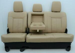 Ford F250 F350 F450 Super Duty Lariat Tan Lather Rear Seats 60 40 Crew Cab