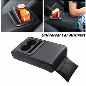 Universal Car Armrest Center Console Box Pu Leather Cup Holder Storage Bracket
