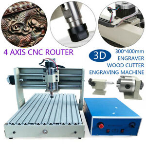 4axis 400w Cnc 3040 Router Engraver Pcb Mill Metal Wood Cutting Drilling Machine