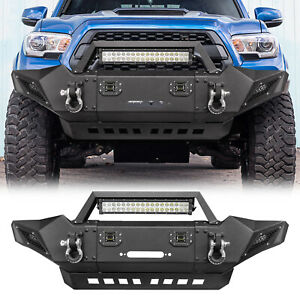 Front Bumper With Led Lights Fog D Rings Fit Toyota Tacoma 05 15 Offroad Guard