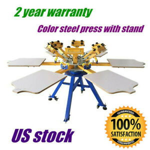 6 Color 6 Station T shirt Silk Screen Printing Press Printer Carousel Machine