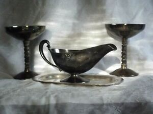 Bridalane Spain Goblets Sterling Silver Plate Gravy Boat Wm Rogers Undertray