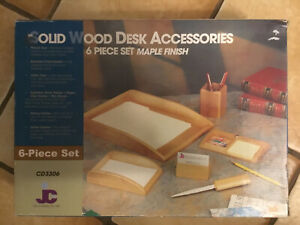 Jcf Desk Accessories 6 piece Solid Wood Maple Finish