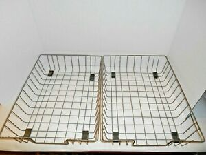 2 Vintage Wire Metal Baskets Office Desk Tray Organizer Paper Letter Holders