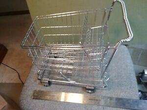 Small Metal Shopping Cart Realistic W Rolling Wheels Display Basket Doll Toy