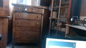 Antique Oak Unique 8 Drawer High Boy Dresser