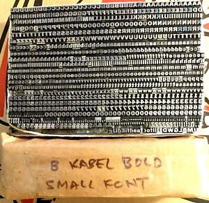 Letterpress Type Kabel Bold 8 point Lead Foundry Type