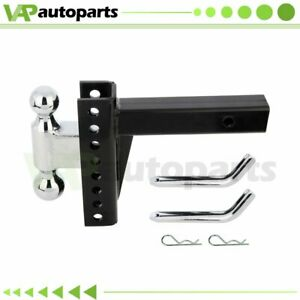 Dual Ball Mount Drop Adjustable Hitch Tow Truck Trailer Pin Receiver Heavy Duty