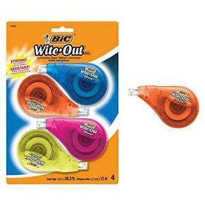 Bic Clean Wite out Brand Ez Correct Correction Tape 4 count 5 25 X 75 X 8 125