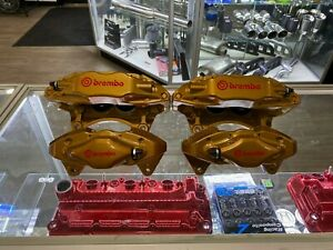 Subaru Sti Front Rear Set Calipers Brembo 4 Piston Gold Impreza Wrx 08