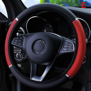 Universal 15 38cm Leather Black Red Auto Car Steering Wheel Cover Non S N Yt