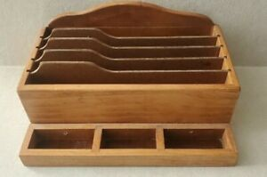 Vintage Solid Wood Office Desk Top Mail Papers Cards Holder File Organizer