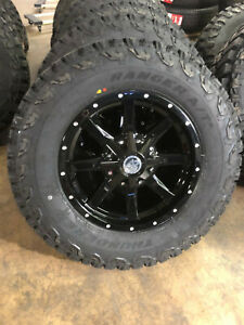 17x8 Black A2 Off Road Wheels Rims 32 265 70r17 At Tires 5x5 Jeep Wrangler Jk