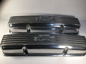 Edelbrock 4145 Finned Valve Covers polished Aluminum for Small Block Chevy