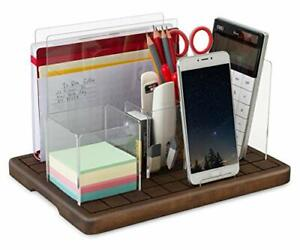 Adjustable Desk Organizer ell Phone Stand Mail Holder Solid Wood Acrylic Set P