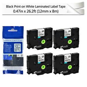 4pk Black On White 0 47 Label Tape For Brother P touch Pt 2730 Tze 231 Tz 231