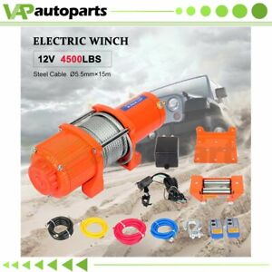 1x Electric Winch 4500lb Steel Cable 12v Truck Trailer For Toyota New
