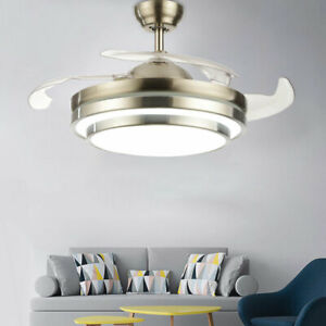 42 Ceiling Fan Light Chandelier Dimmable Led Lamp Retractable Blades Remote
