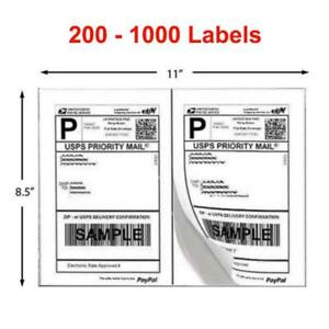 200 1000 Shipping Labels 8 5x5 5 Half Sheet Self Adhesive 2 Label Per Sheet