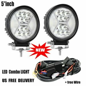 2x 5 Inch Led Work Light Round Spot Flood Driving Fog Lamp Suv Atv Offroad wire