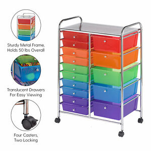 15 drawer Plastic Mobile Organizer Rolling Cart For Classification Storage