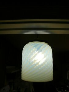 A 1930 S Swirl Opalescent Pendant Lamp Shade With Original Metal Trim