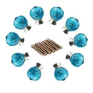 10 Turquoise Crystal Glass Cabinet Knobs Cupboard Drawer Dresser Door Chic New