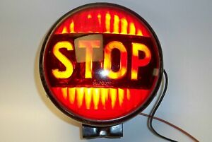 Vintage Auto Or Bus Stop Light Glass Red Lens With Housing Bracket Rat Rod