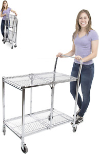 Stand Steady Original Tubstr Collapsible Wire Cart 2 Shelf Wire Utility Car