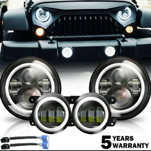 7 Led Headlights 4 Fog Light Hi Lo Lamp For Jeep Wrangler Jk Hummer H2